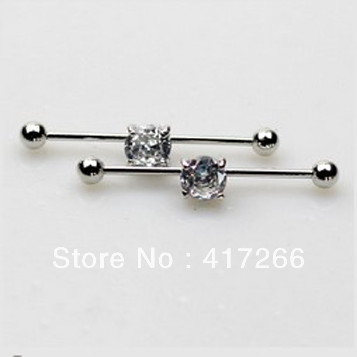 316l stainless steel hot body jewelry clear crystal 16G zircon industrial bar ring ear piercing 30pcs/lot free shipping(China (Mainland))