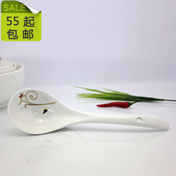 Spoon ceramic big spoon poleaxe soup spoon rice spoon bone china(China (Mainland))