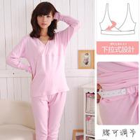 100% cotton maternity underwear maternity set autumn underwear set V-neck nursing