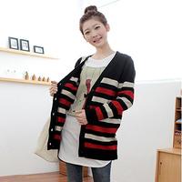 Free Shipping Maternity clothing autumn stripe top sweater cardigan