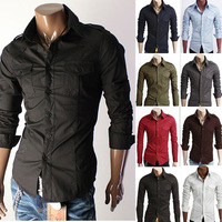 Fashion Men's long Sleeve casual dress Shirts with high collar/ Pullover dress shirt for man