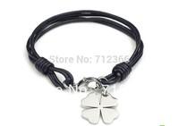 Lucky Clover Charm Titanium Stainless Steel  Friendship Bracelet