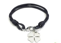 Min Order $8.8(Mix Order).Lucky Clover Charm Titanium Stainless Steel  Bracelets Top Fashion  Leather Rope Braided Bracelets