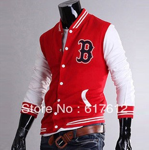 2013 Free Shipping Men&#39;s &quot;B&quot; Baseball Hoody Sport Jacket Uniform Sweatshirt jumper COAT Blazer 4 SIZE M L XL XXL Navy Red Black(China (Mainland))