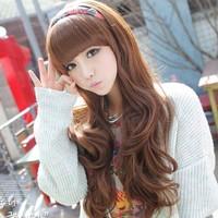 Wig long curly hair fluffy female non-mainstream qi bangs medium-long jiafa pear short bobo lady girl women female wig hair