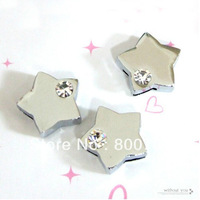 free shipping 8mm  rhinestone pentacle slide charm 50pcs