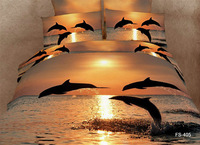 Free shipping 100% cotton 4 PC 1.8 unique 3 d paint bright dolphins jumping bedding set