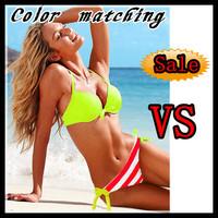 Free shipping/Red and white striped rainbow striped Bikini colorfull Swimwear women swimsuit VS Strappy Sexy Women beachwear