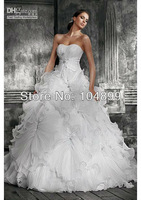Hot sale  Sexy Sweetheart Ball Gown Chapel Train Organza Ruffle Applique Beads Wedding Dresses size 2 4 6 8 10 12 14 16 18 20