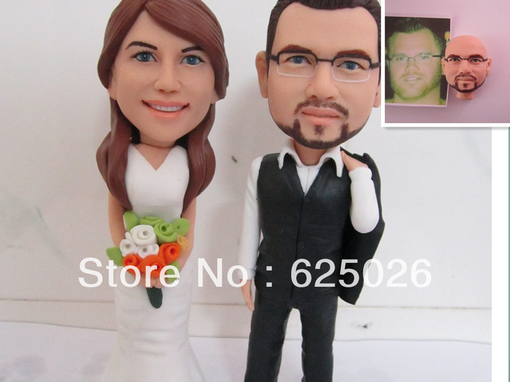 Free Shipping --- Cheap Custom Unique Personalised Traditional Wedding Cake Toppers From Real Photos(China (Mainland))