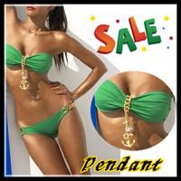 Free shipping/women green red sexy swimming suit Shining metal pendant with Bikini swimwear swimsuit beachwear/Wholesale+ Retail