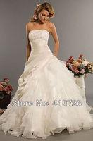 New Elegant White/Ivory scoop organza  Bridal Dress Wedding Dress Gown Custom Size Free Shipping