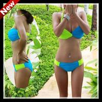 Free shipping/Ladies Blue/green splices Bikinis Sexy girl swimming suit women Swimsuit Swimwearround steel support