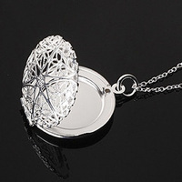 Free shipping wholesale 925 silver necklace pendant Round Photo frame