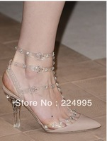 Studded clear strap leather PVC sandals clear Lucite heels Design pumps 2013 Trend women dress shoe