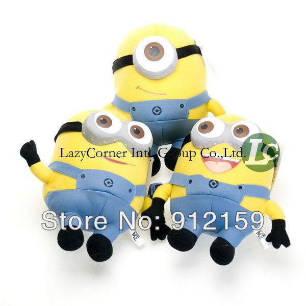 Droshipping Despicable ME 3D Eyes Plush Toy 23cm Minions Stuffed Jorge Stewart Dave Minion toy Retail factory direct(China (Mainland))
