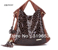 Free Shipping!!!  2013 Hot Sale Western   Woman Casual  Genuine Leather  Tote,   Stone Lines  bag ,  #j1273