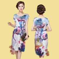 New arrival 2013 women's silk sleepwear mulberry silk robe one-piece dress belt 03