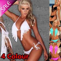 Free shipping/New Arriva Tassel fringe swimsuit Promotion!sexy bikini with cup fashion sexy swimwear women' s Tankini 4 colors