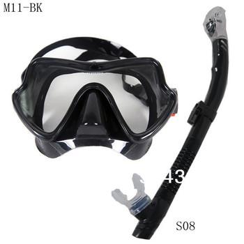 2013NEW Scuba Diving Snorkeling Silicone Mask Set(Black)M11BK-S08