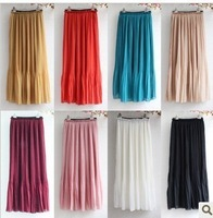 Summer fashion bohemia female pleated plus size chiffon mm slim half-length skirt full