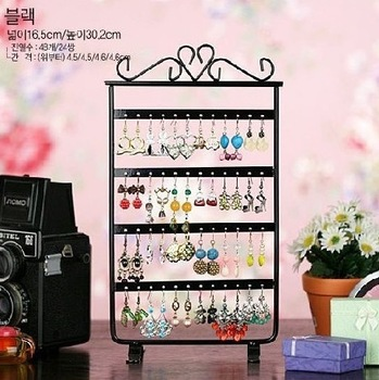 Promotion ! Free Shipping New Black Metal Display For Jewelry , 48 Holes Earring Necklace Jewelry Display Rack Stand Holder