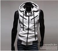 Free Shiping 2014 Men's Sleeveless Hoody Vest Fashion Cotton Top with T- shirt Asian Size M L XL XXL