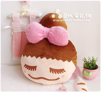 Birthday gift hot-selling pear head portrait meatball head doll cushion pillow plush toy