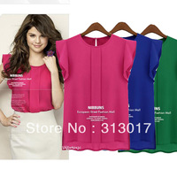 S-XXL Free Shipping Plus size New fashion fly sleeve chiffon short-sleeved women's blouse #S5543