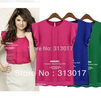 S-XXL Free Shipping Plus size New fashion fly sleeve chiffon short-sleeved women's blouse #S5543