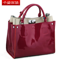 Free shipping 2013 brief cowhide thick japanned leather handbag genuine leather handbag women's