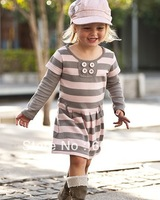retail baby dresses girl pink striped long sleeve dress autumn children garment BC154
