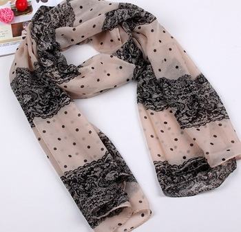 Min order is 10usd Fashion Silk Lace scarf Chiffon Free shipping ---cRYSTAL sHOP