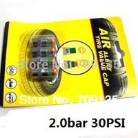 Free shipping 2.0bar 30PSI Car Auto Tire Pressure Monitor Valve Stem Caps Sensor Indicator Eye Alert, 2packs = 8pcs