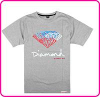 Stock Free Shipping 2014 most popular men's Tee.short shirts ,Diamond t shirts mix order grey fashion diamond t shirt