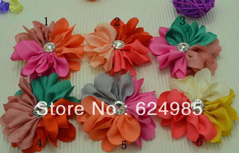 Trail order girl big Starburst diamond flower clip multicolour High elastic knit fabric flower clip hair accesories40pcs/lot(China (Mainland))