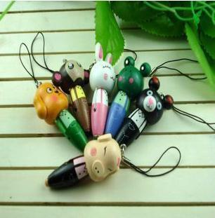 Children gift  6PCS/lot  Cut animals mini ballpoint pen cell phone lanyardsFree shipping