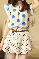 2013 summer new fresh wide Matsunami boats sleeve loose and comfortable was thin chiffon shirt Women Skirts Dress