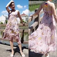 2013 fresh new summer dress bohemian long section of the floral dress chiffon skirt beach skirt