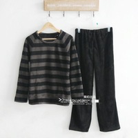 Free shipping Black stripe long-sleeve fleece thickening coral fleece sleep set lounge autumn and winter plus size clothing