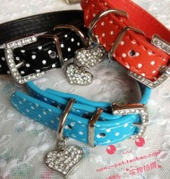 Polka dot heart quality bling rhinestone small dogs teddy the dog collar pet leather collar crystal cat collar