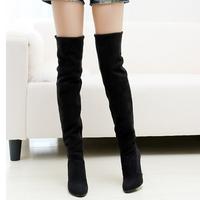 2012 knee-length elastic scrub boots high-heeled boots high-leg plus size
