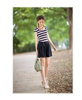 Hot Sell Women Lady Sexy Dress Skirt Black White Stripe Dress Shirt With Bow Free Shipping