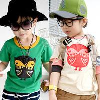 2013 summer owl boys clothing girls clothing baby child short-sleeve T-shirt tx-0948