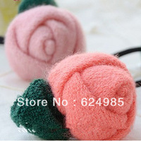Trail order Free shipping 2013 baby fashion knitting wool rose flower hair clip pink orange cute flower hairpin 20pcs/lot