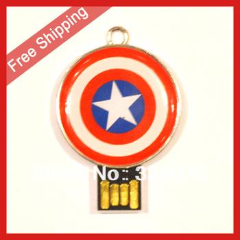 Free Shipping 4GB 8GB 16GB 32GB Captain America Shield USB 2.0 Flash Memory Pen Drive Stick 100% Full Capacity
