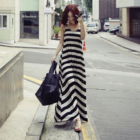 2013 summer one-piece dress black and white stripe dress bohemia full dress