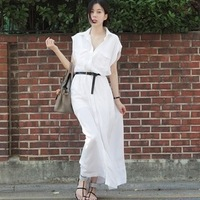 2013 summer belt elegant solid color shirt one-piece dress full dress