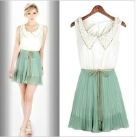 2013 one-piece dress high quality fashion petals collar sleeveless chiffon one-piece dress lyq112