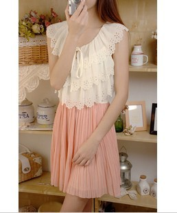Free shipping 2013 lace flower cutout sleeveless tank dress pleated skirt chiffon one-piece dress(China (Mainland))